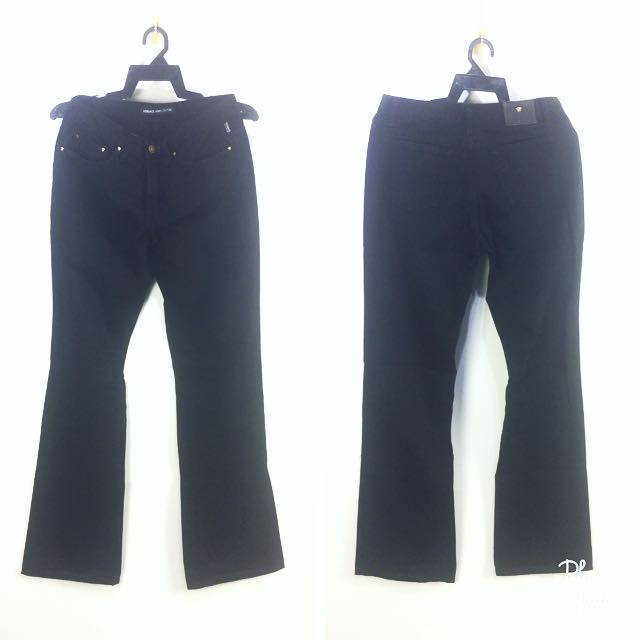 Auth VERSACE Jeans Couture Bootcut Style All Black Jeans Unisex