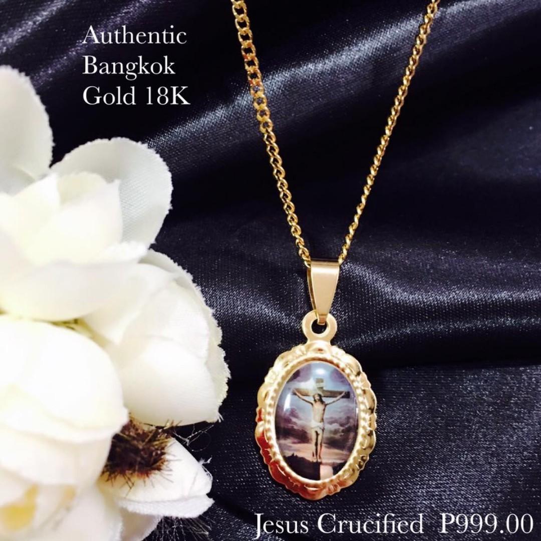 Authentic Bangkok Gold 18K Religious Item Jesus Crucified Necklace