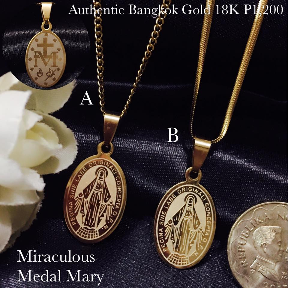Authentic Bangkok Gold 18K Religious Item Miraculous Medal Mary