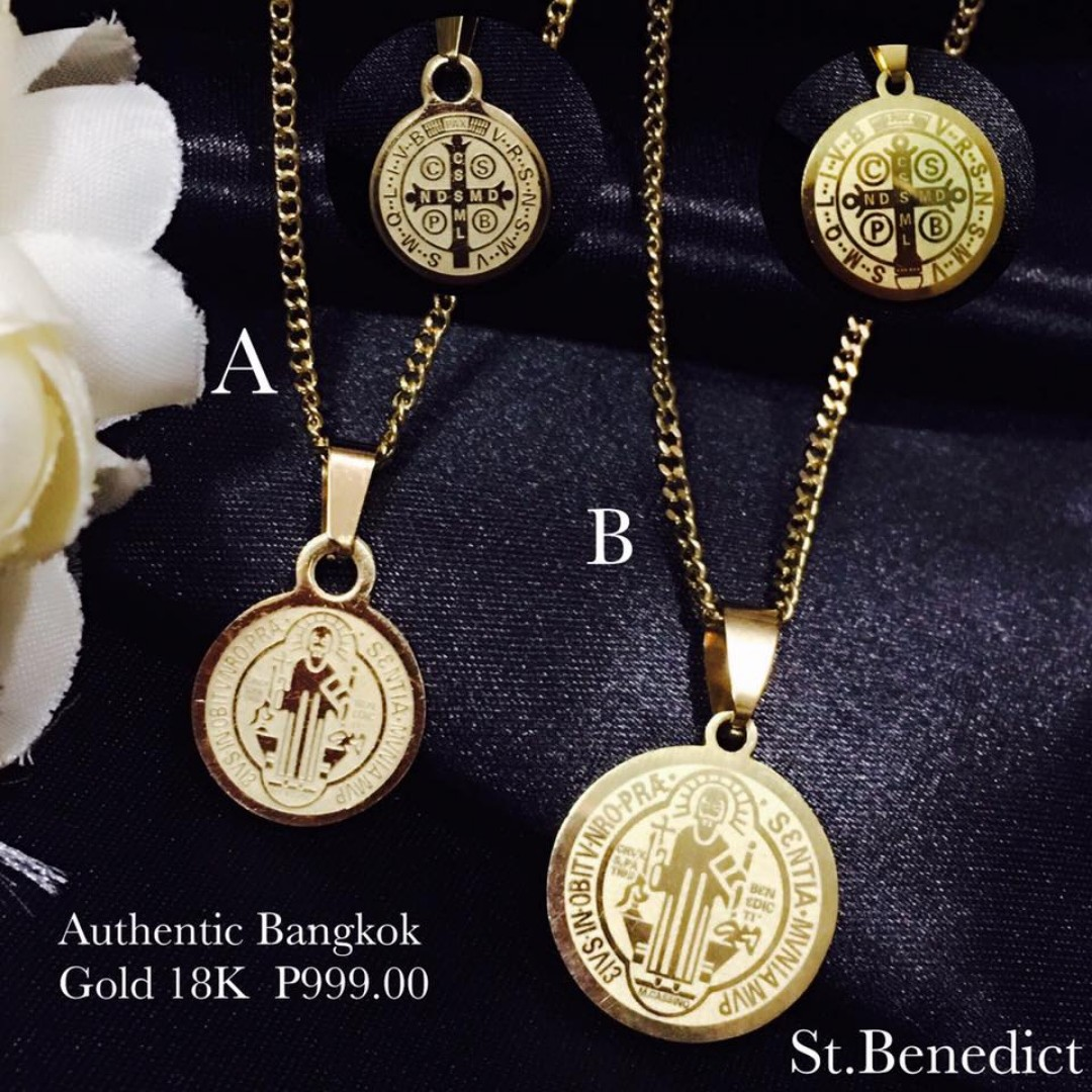 Authentic Bangkok Gold 18K Religious Item St Benedict Necklace
