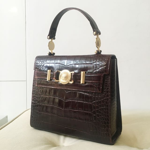 ce1781c313 Authentic Versace Embossed Crocodile Leather Kelly Bag with ...