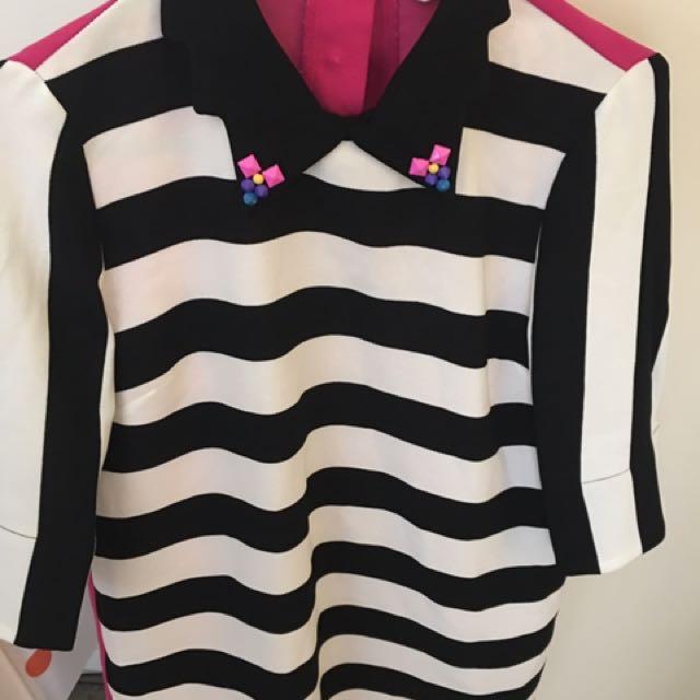 Black white & pink stripes top