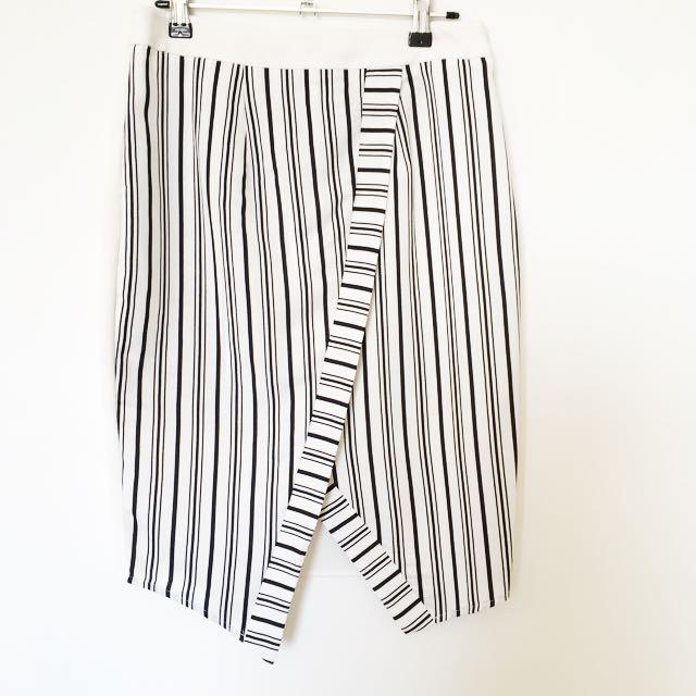 Blue juice black and white strippy skirt