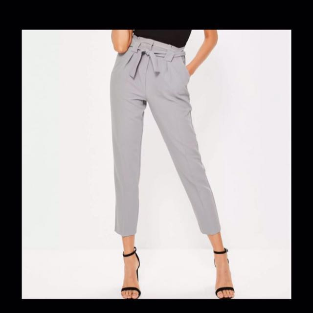 BNWT Missguided Grey High Waist Cigarette Pants