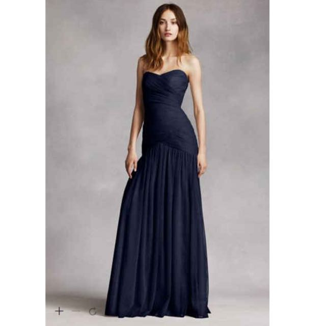BNWT VERA WANG WHITE Gown in Midnight Blue