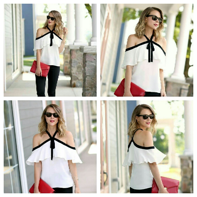 Chiffon Two-tone Open Shoulder Blouse