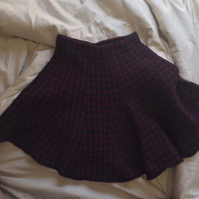 Cotton On Maroon-Black Houndstooth Skirt