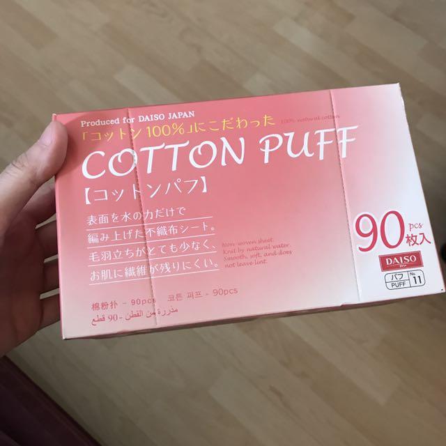 Daiso cotton puff kotak isi 90pcs
