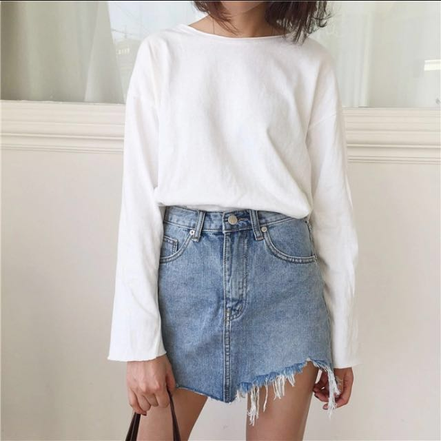 Distressed Raw Denim Skirt