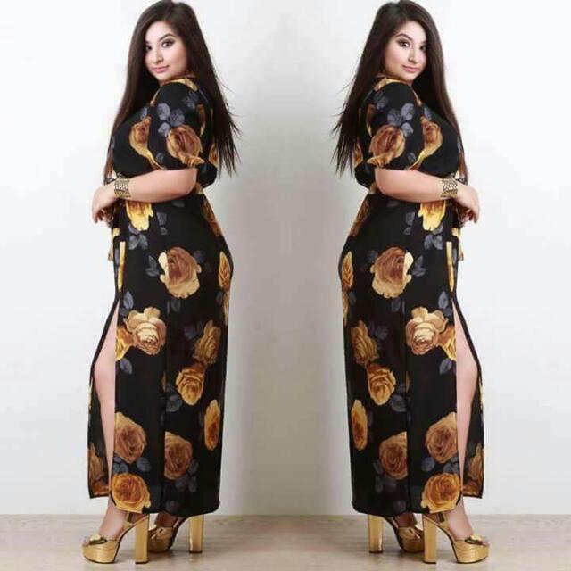 elegant casual plussize dress w/ double slits