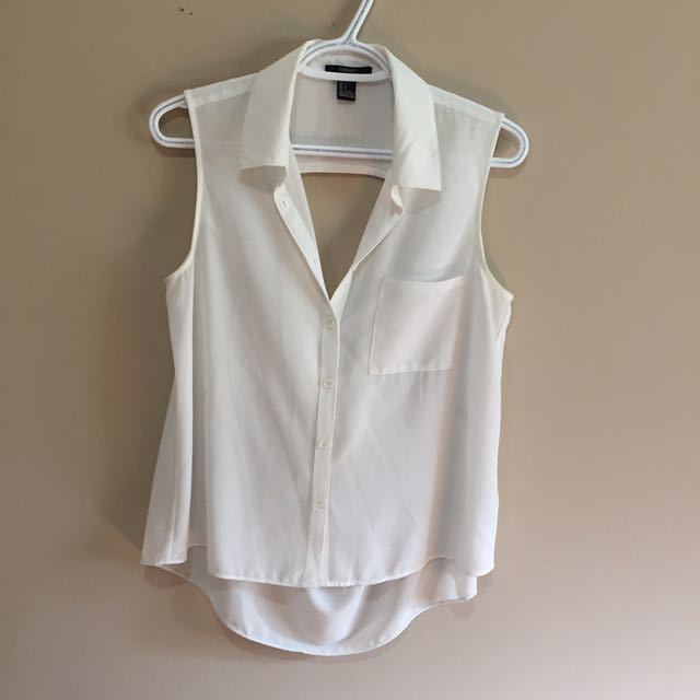 Forever 21 white sleeveless shirt size S