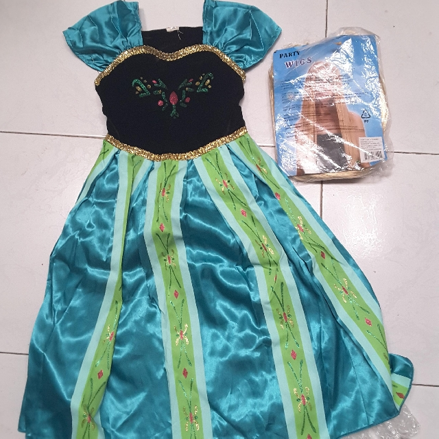 Frozen Elsa / Anna Costume with gold wig