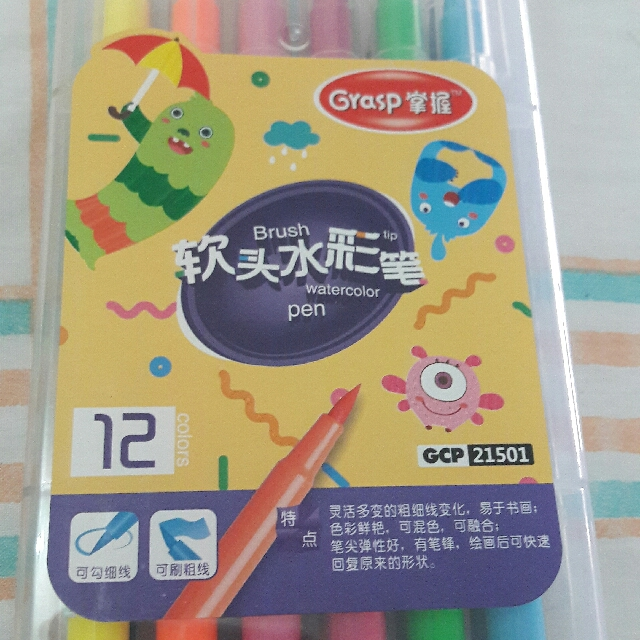 Grasp 12 in 1 Brush Pens with case