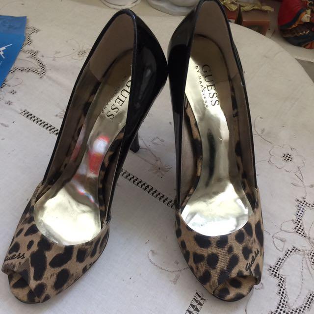 Guess豹紋黑高跟鞋