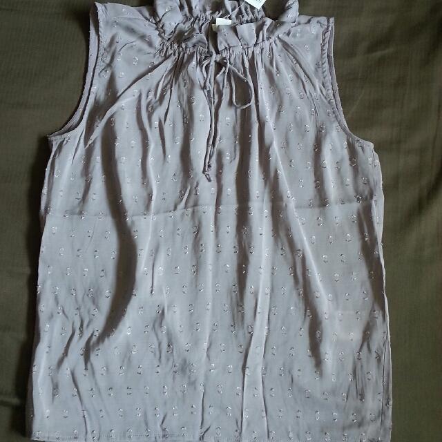 H&M 氣質 領子綁帶 短袖上衣