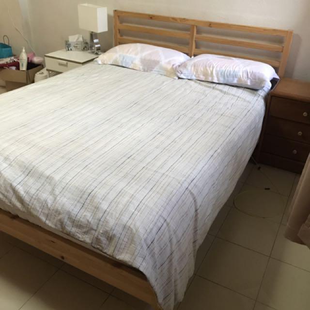 IKEA TARVA bed frame with Luroy slatted base, Furniture, Beds ...