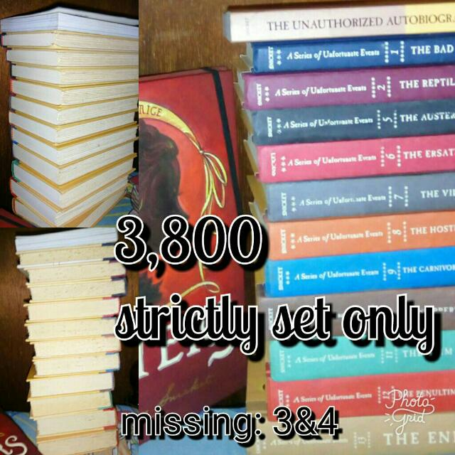 lemony Snicket books series of unfortunate events all for 3,800. fixed price.  strictly set only. bundle lang po.