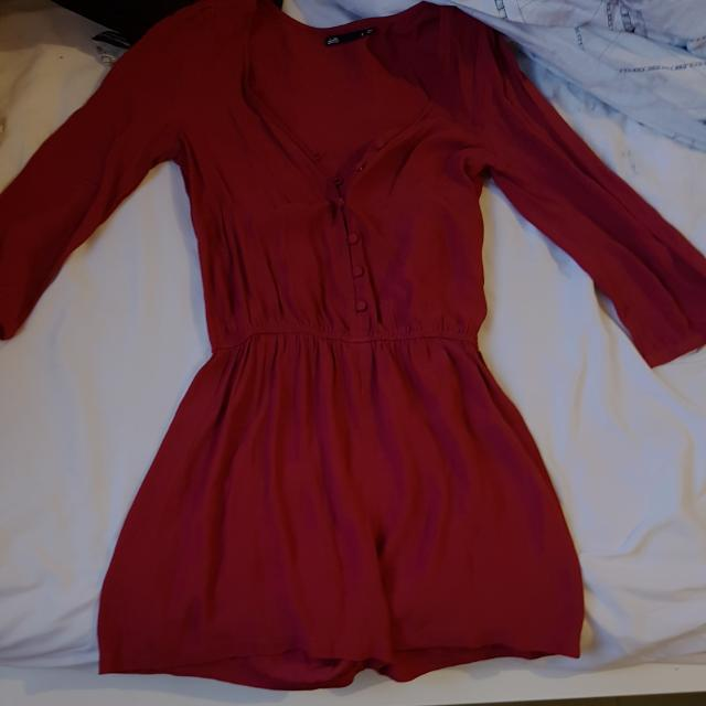 Maroon Playsuit Long Sleeve