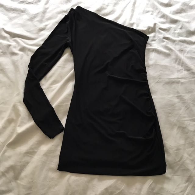 Mini one shoulder black dress ASOS