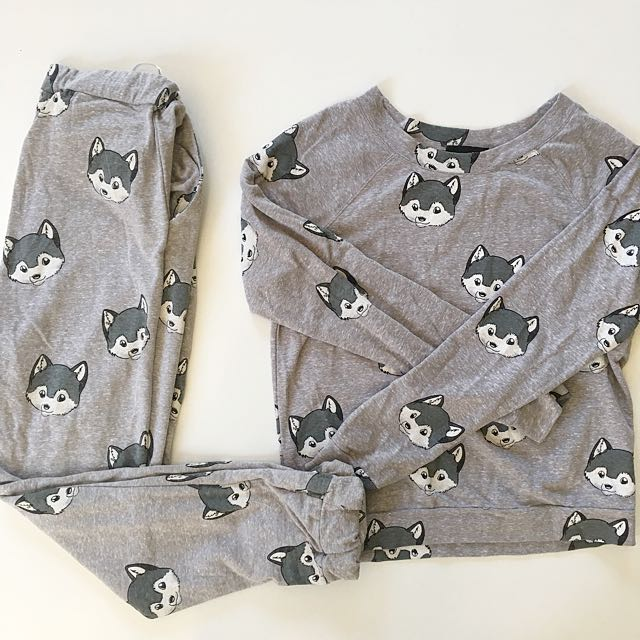 Minkpink cute fox lounge wear set top size S bottom XS