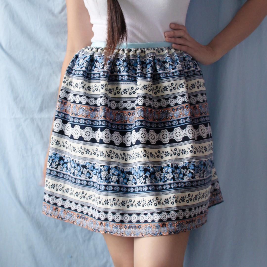 moroccan print skirt