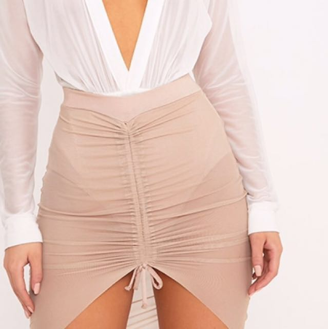 Nude ruched mesh skirt