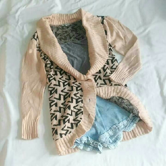 Peach Knitted Cardigan/ Sweater