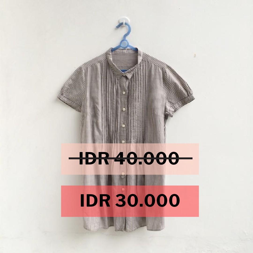 [PRELOVED] Stripes brown blouse