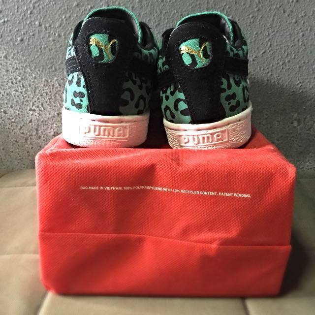 9005bc51e92627 Puma Suede Green Leopard Print Shoes