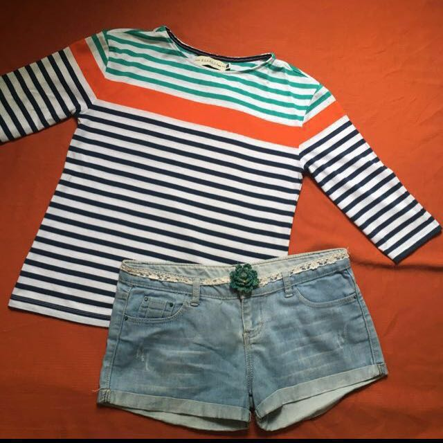 Regatta 3/4 Stripe Blouse, Size: Small