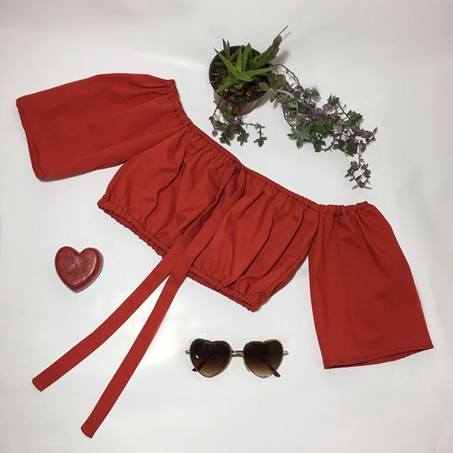 Ruby Red Off The Shoulder Top