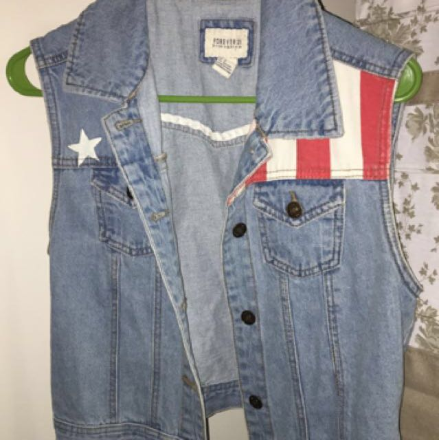 Stars and Stripes Denim Vest Jacket