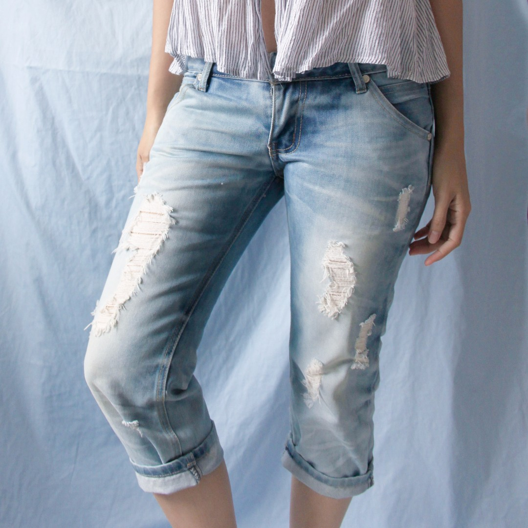 tattered low waist jeans