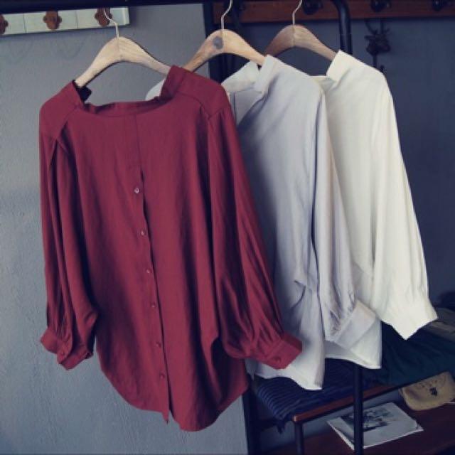 V領七分袖衫-磚紅色