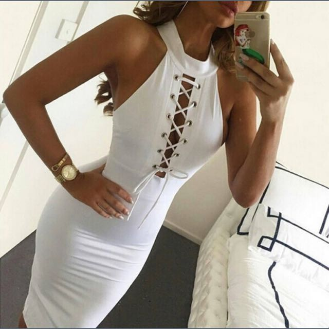 White Bodycon Lace Up Dress