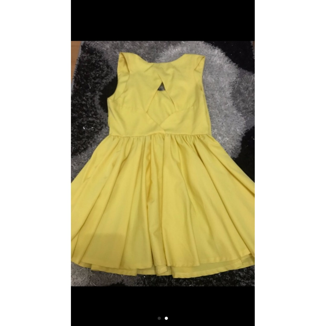 Yellow A-line Cocktail Dress