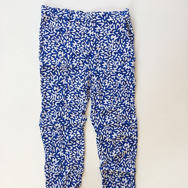Zara blue white pattern pants straight leg size XS