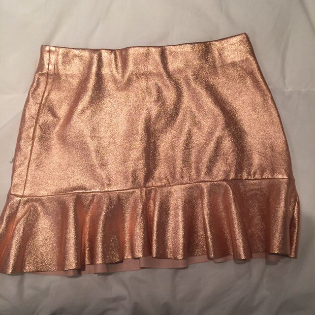 Zara rose gold metallic mini skirt