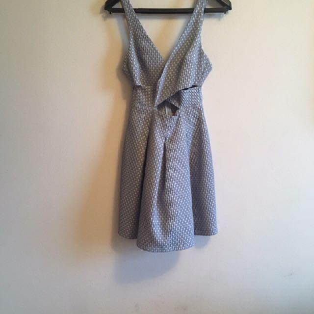 Zara Trafaluc light blue heart print dress
