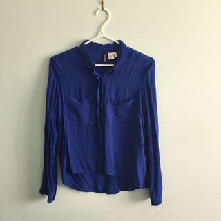 H&M Cobalt blue button up
