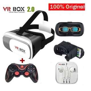 Headset Google Cardboard VR BOX 2.0 Version Virtual Reality Glasses Bluetooth Remote Control Gamepad with Original Box (Color: White) (Color: Black)