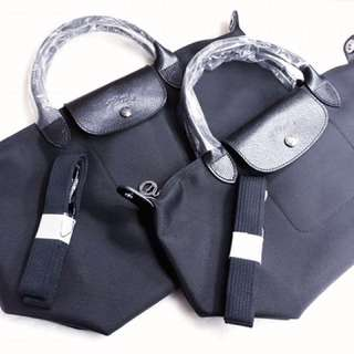 Long champ canvas leather