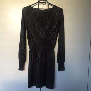 [ZARA] Shimmery black wrap mini dress (Sz XS / 6)