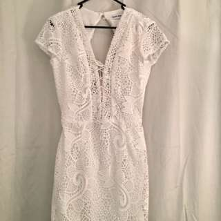 Tigermist white lace open back mini dress