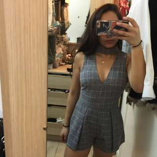 BNWT Plaid Choker Plunge Playsuit