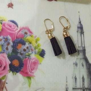 Tassel Earrings - Navy Blue
