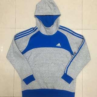 🚚 ADIDAS 藍灰色帽T(童裝L)