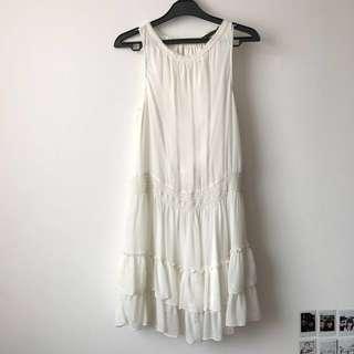 ZARA White Flowy Dress