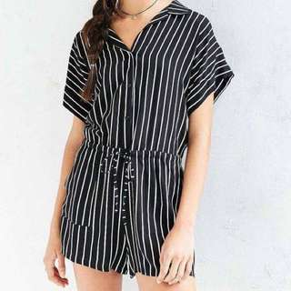 Striped Button Up Romper By BDG Urban Outfitters