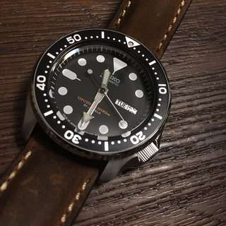 Seiko Diver skx007 Japan made. With Steinhart vintage leather strap